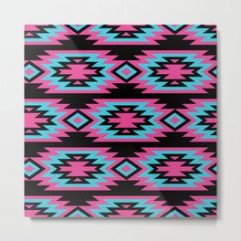 vintage seamless decorative ethnic pattern. American indian motifs. Background with aztec tribal ornament.  Metal Print