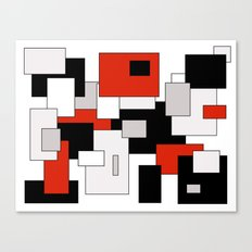 Squares - gray, red, black and white Canvas Print