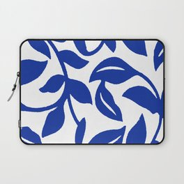 PALM LEAF VINE SWIRL BLUE AND WHITE PATTERN Laptop Sleeve