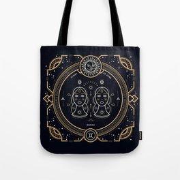 Gemini Zodiac Gold White on Black Background Tote Bag