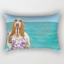 Basset Hound on the Beach Rectangular Pillow