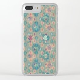 Lotus flower - pistachio green woodblock print style pattern Clear iPhone Case