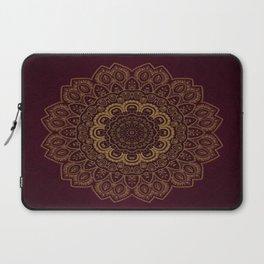 Gold Mandala on Royal Red Background Laptop Sleeve