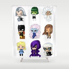 Chibi Heroines Set 1 Shower Curtain