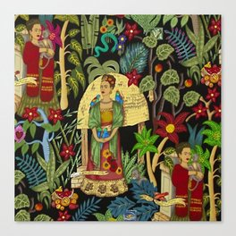 The  Coyoacán Mexican Garden of Casa Azul - Lush Tropical Greenery and Floral Landscape Painting Canvas Print