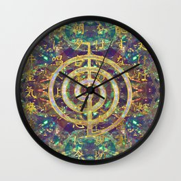 Gold Choku Rei Symbol and Reiki Precepts Wall Clock