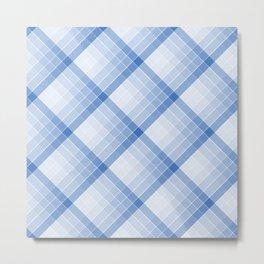 Sky Blue Geometric Squares Diagonal Check Tablecloth Metal Print