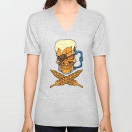 Beer Skull - Brewer Pirate - Brewery Unisex V-Neck