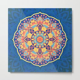Multicolor New Age Zen Yoga Lover Far Out Mandala Spiral Metal Print