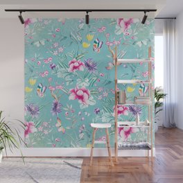 Pastel Teal Vintage Roses and Butterflies Pattern Wall Mural