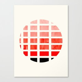 Watercolor Colorful Vermillion Minimalist Mid Century Modern Square Matrix Geometric Pattern Round C Canvas Print