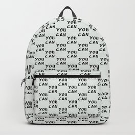 "Phillip Gallant Media Design - ""You Can"" Black on White Backpack"