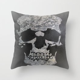 Diamond teeth silver skull Throw Pillow