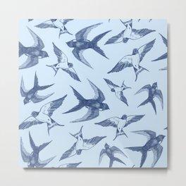 Swooping Swallows in Blue Metal Print