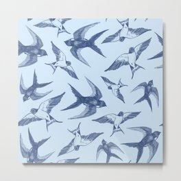 Swooping Swallows in Blue Metal Print