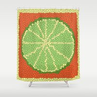 coasters Shower Curtains featuring LIME MOSAIC by Tanya Pligina