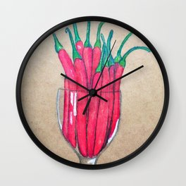Chilli's in a glass Wall Clock