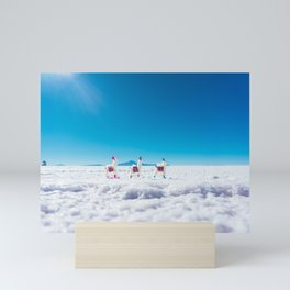 Mini Llamas on the Bolivia Salt Flats Mini Art Print