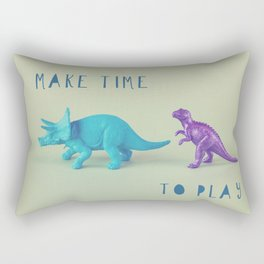 Make Time to Play - Blue and Purple Dino on Green Rectangular Pillow