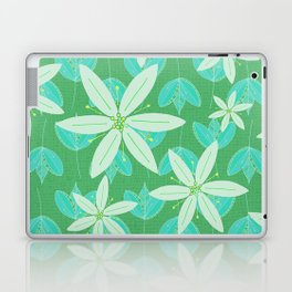 Green Flowers and Leaves Doodle Illustrated Pattern Laptop & iPad Skin