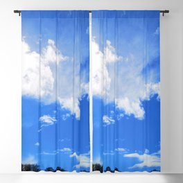 blue cloudy sky trees std Blackout Curtain