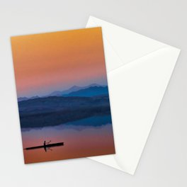 Kayaker on the Lake with Mountains and Setting Sun Stationery Cards