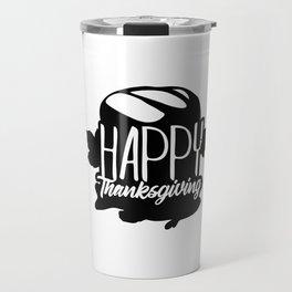 Happy Thanksgiving Bread Salmon Fish Travel Mug