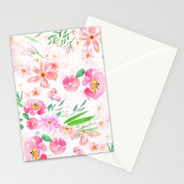 pink flowers and green leaf pattern  Stationery Cards