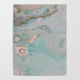 Fluid Art Acrylic Painting, Pour 18, Pastel Pink, Blue & Gray Blended Color Poster