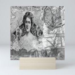 La Rosa Collage - Black and White Mini Art Print