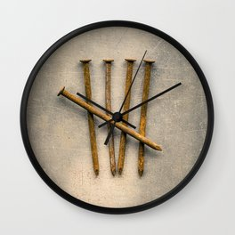 Five Rusty Nails Tally Mark Wall Clock