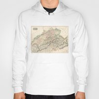 switzerland Hoodies featuring Vintage Switzerland Map by BaconFactory