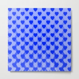Zigzag of light blue hearts staggered on a dark background. Metal Print