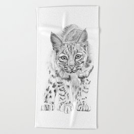 On the Prowl :: A Young Bobcat Beach Towel