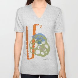 Direct Line II - collage in orange, green and blue Unisex V-Neck