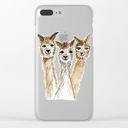 Hello There Alpacas! - animal art Clear iPhone Case
