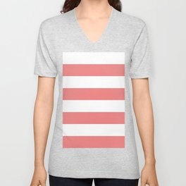 Wide Horizontal Stripes - White and Coral Pink Unisex V-Neck