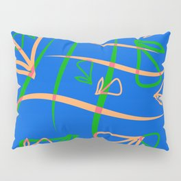 Geometric pastel pattern from vegetative peach and mint elements on a blue background. Pillow Sham