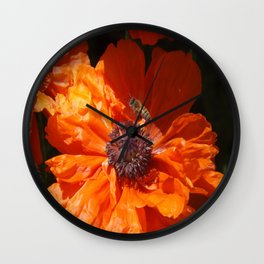 A Bee And A Poppy  Wall Clock
