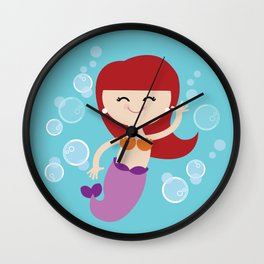 Little Redhead Mermaid Wall Clock