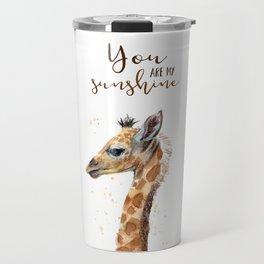 You Are My Sunshine Giraffe Nursery Animals Watercolor Art Travel Mug