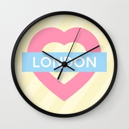 London Pastel Heart Wall Clock