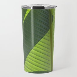 Green Tropical Leaves: Sunlight and Shadows Travel Mug