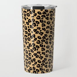 Classic Black and Yellow / Brown Leopard Spots Animal Print Pattern Travel Mug