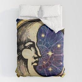 Celestial Antique Man In The Moon Watercolor Batik Comforters
