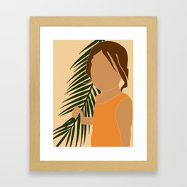 Tropical Reverie - Modern Minimal Illustration 13 - Girl with palm leaf - Tropical Aesthetic - Brown Framed Art Print