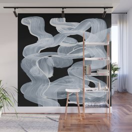 Ghostly Smoke Organic Brush Strokes Black Background Magical Ghostly Pattern Wall Mural