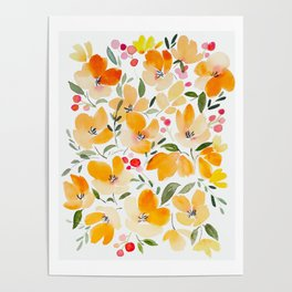 Yellow and Orange Floral Poster