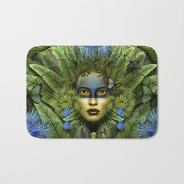 """Tropical green and indigo jungle Woman"" Bath Mat"