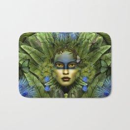 """Tropical green and indigo jungle Woman"" Bath Mat"
